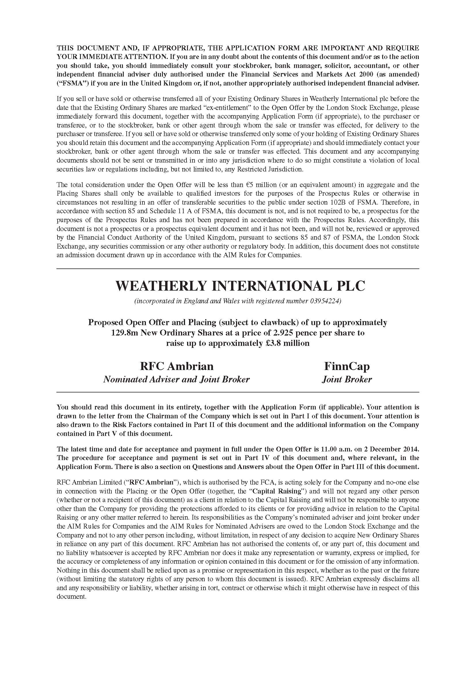 Weatherly Open Offer Documentation