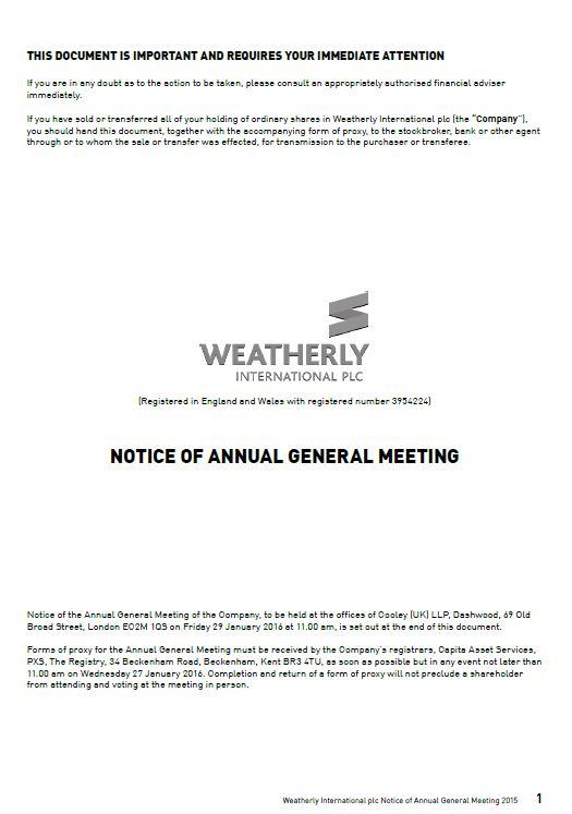 Notice of AGM 2015