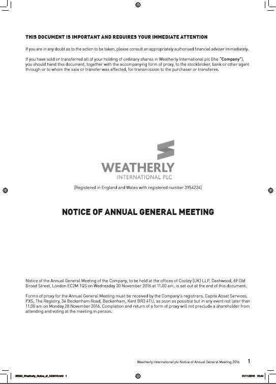 Notice of AGM 2016