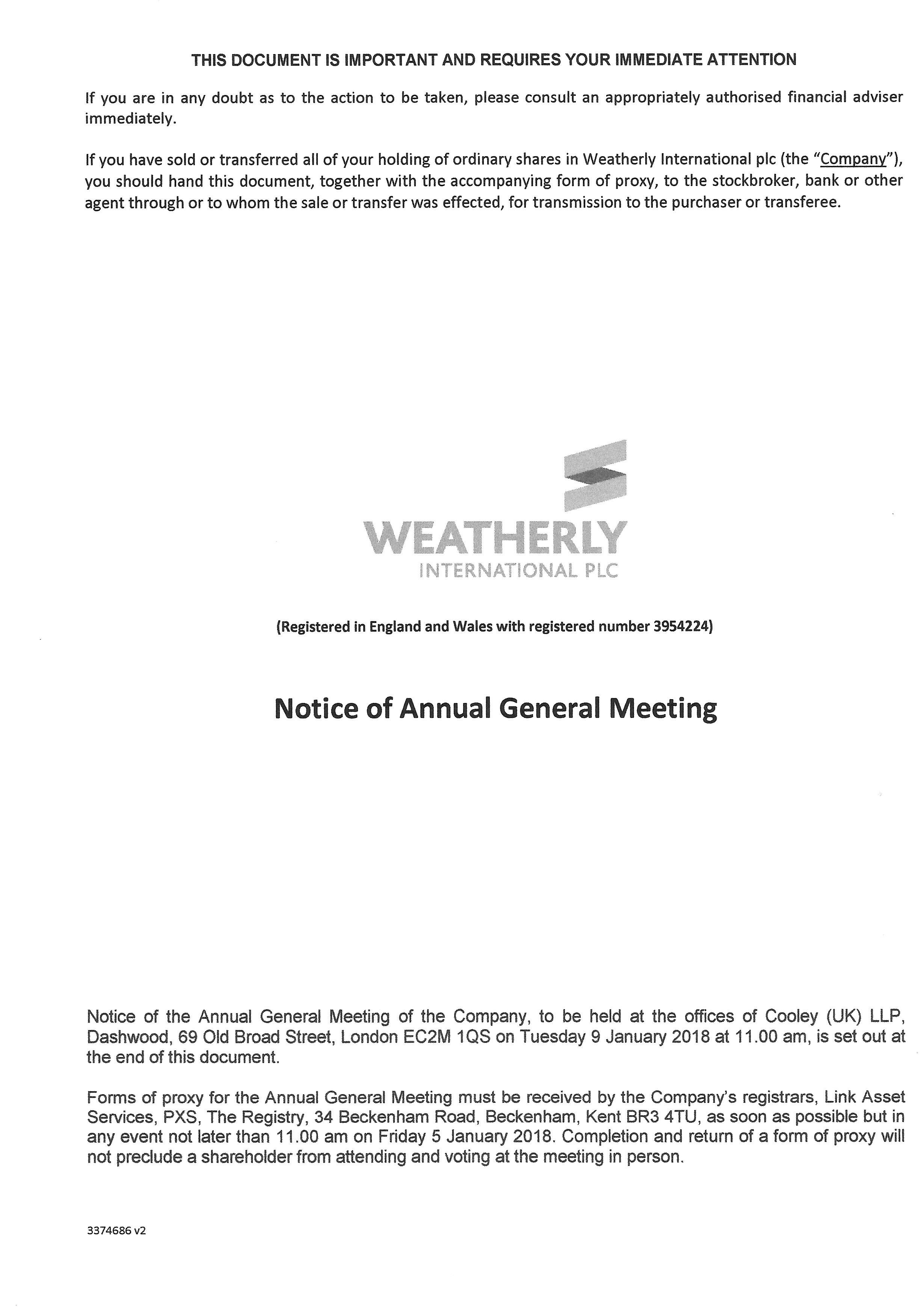 Notice of AGM 2017