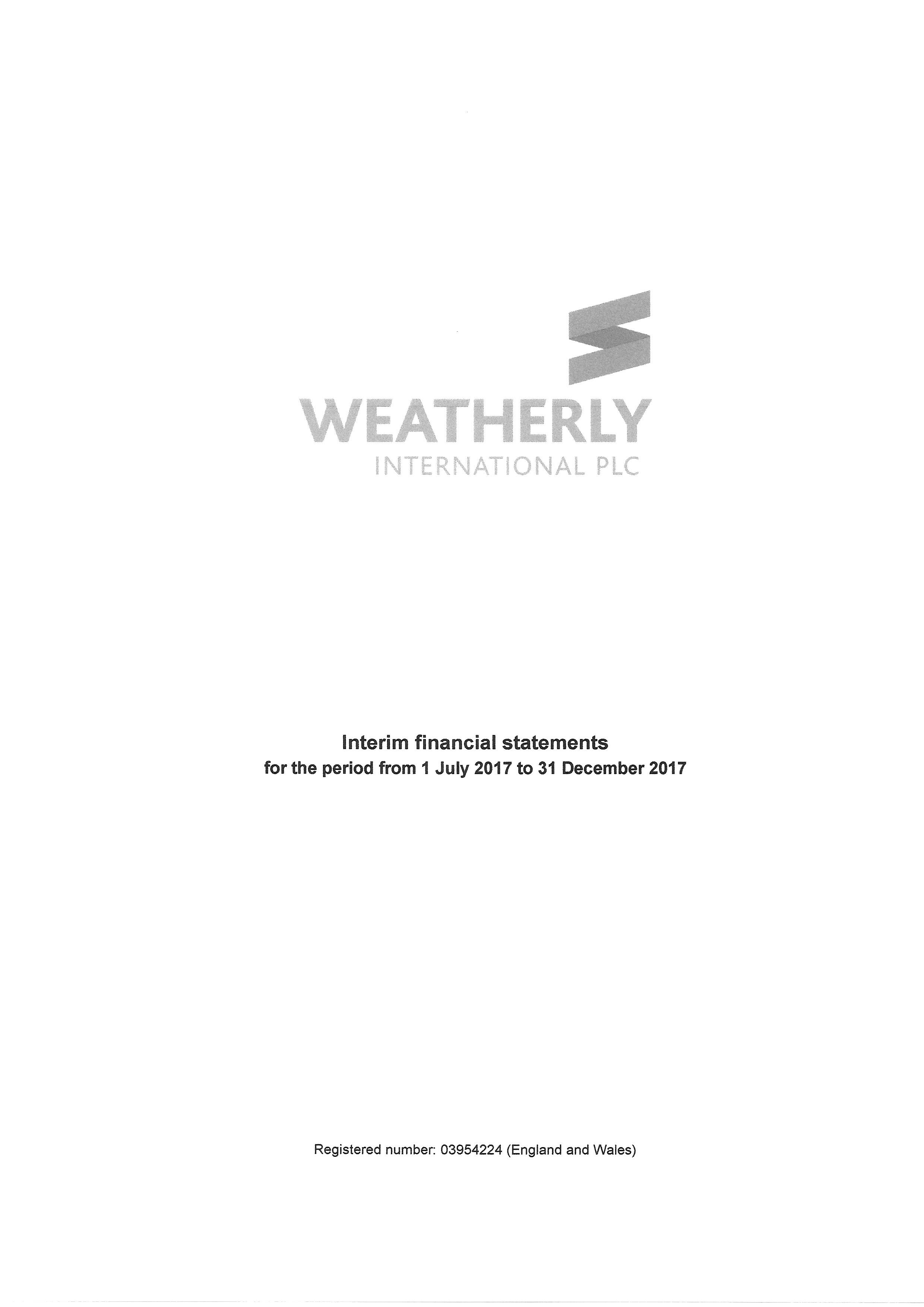 Interim Financial Statements 31 December 2017